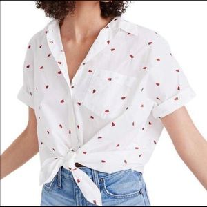 Madewell Embroidered Strawberry Tie Front Shirt
